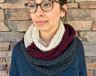 Crochet Scarf, Infinity Scarf, Color Block Scarf, White, Grey, Maroon