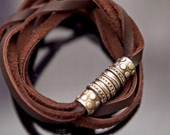 Boho wrap bracelet Brown leather bracelet for men bracelet boho bracelet Wrap bracelet Leather and silver bracelet Double wrap bracelet