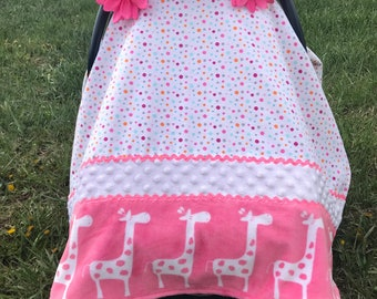 Infant Carrier CanopyGirlCarseat CoverWhite-Pink Giraffes On Parade