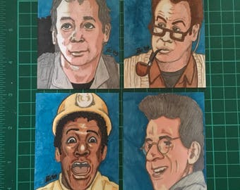 Set of 4 Original artist hand drawn ghostbusters sketch trading cards.