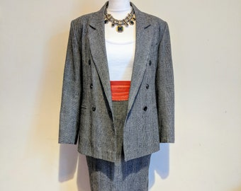 7d86252dc1 80s C A black and white vintage check  plaid double breasted print blazer  and pencil skirt suit. Size S.