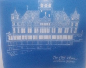 The Cliff House Blue Print Poster Original