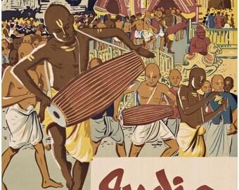 India Travel Poster 1957 original