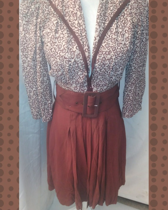 1940s Brown Belted Dress