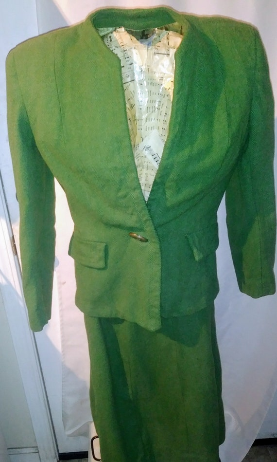 1940s Green Wool Suit Satin Lined