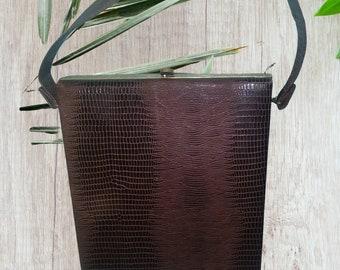 Vintage Faux Alligator Skin Handbag 1950s