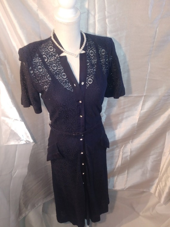 1940s Navy Lace Dress With Navy Slip