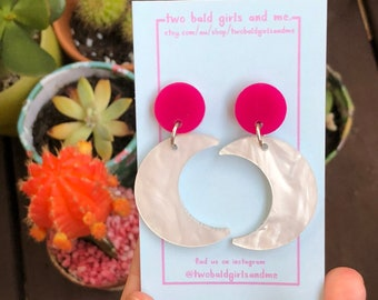 The 'Nicola' Magenta Matte and Marble Moon Dangles