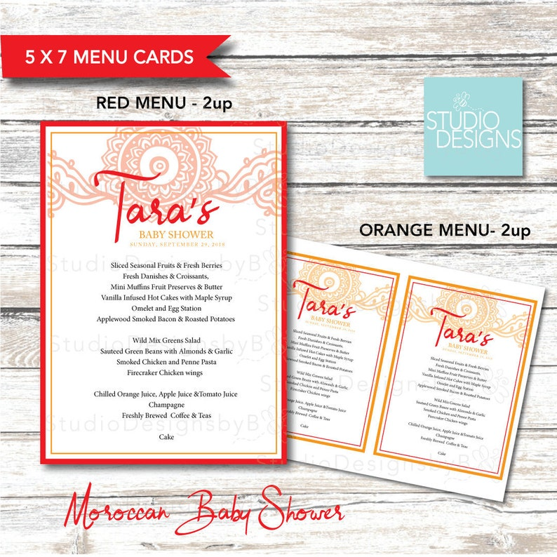 Moroccan-Themed Baby Shower Menu Cards - Red and Orange