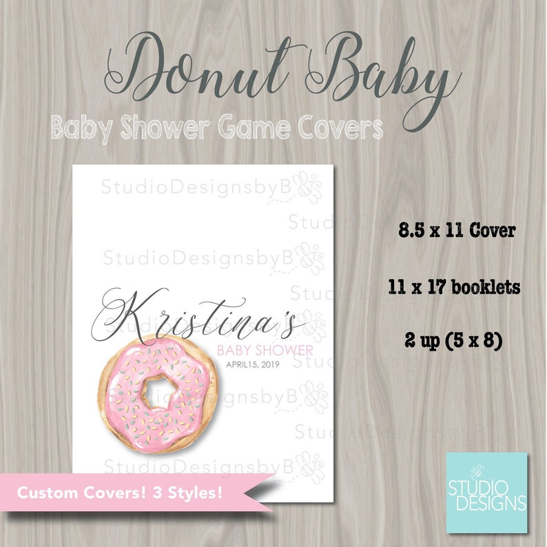 graphic relating to Printable Game Covers called Donut Kid Shower Recreation Booklet Handles. DONUT Little one Shower
