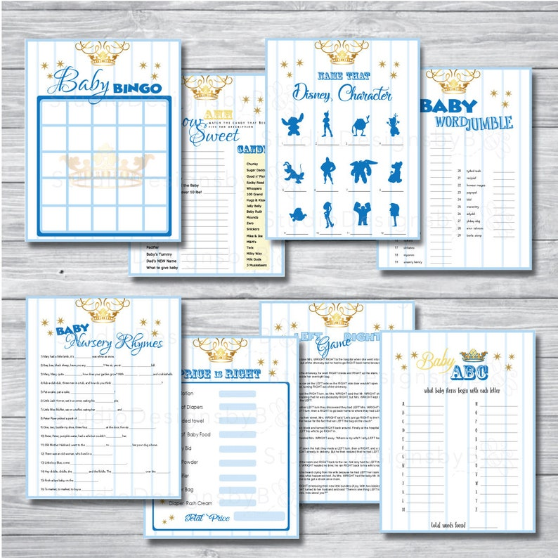 Royal Blue Baby Shower Game Pack     8 Fun Games to Entertain Your Guests and Mother to be