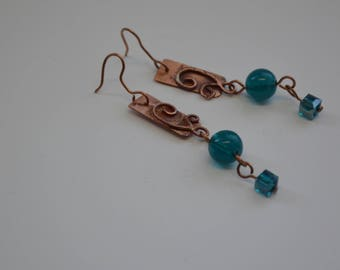 Blue Bead Copper Spiral Dangle Earrings -The Sea And Me