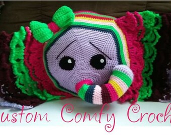 Crochet Elephant Rainbow Pillow