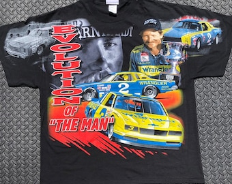 15842bac2e80 Vintage 90s NASCAR #2 Dale Earnhardt Evolution of The Man All over print  Racing t-shirt