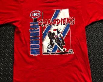 6edcf131f Vintage 80s Montreal Canadians 1989 NHL Patrick Roy Goalie T-shirt