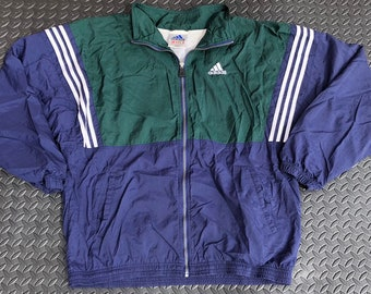 f1f9c66a1e44 Vintage 90s Adidas zip up track jacket windbreaker