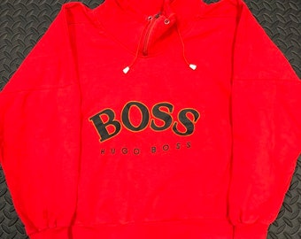 6924ba1a2 Vintage 90s Hugo Boss spellout 1/4 zip sweater