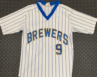 6c9091b377a Vintage 1990s MLB Milwaukee Brewers Number 9 Stitched Pin Stripe Jersey