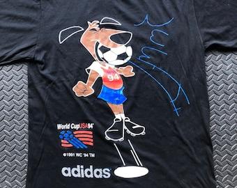 53cc1ce02 Vintage 90s World Cup USA 1994 Adidas T mascot T shirt