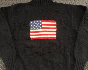 f25ca4a4e0f1 Vintage 90s Polo Ralph Lauren USA flag Kniw sweater