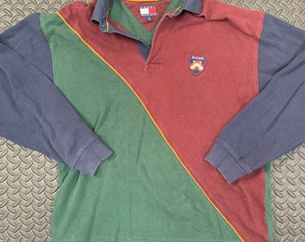 056f4c20720 Vintage 90s Tommy Hilfiger Colourblock Rugby Collared Shirt