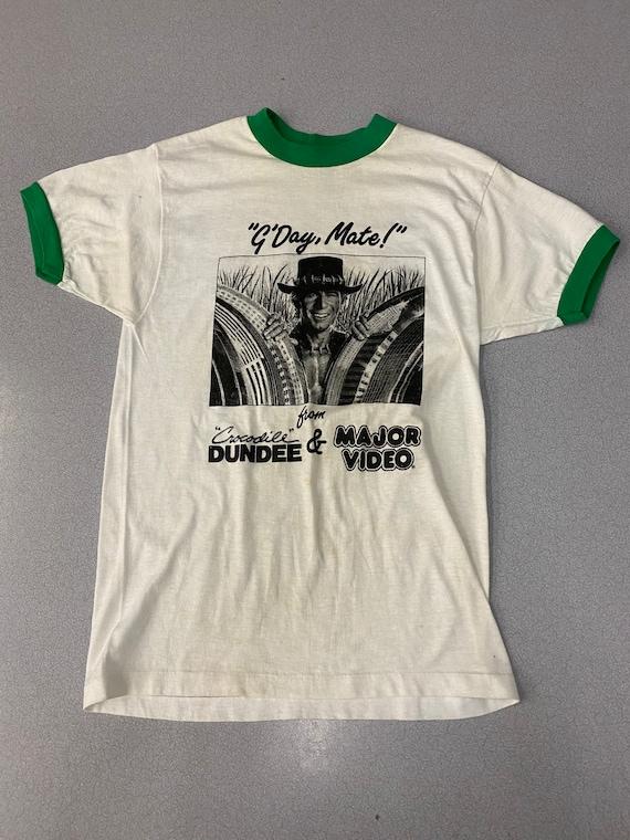 Vintage 80s Crocodile Dundee ringer T shirt