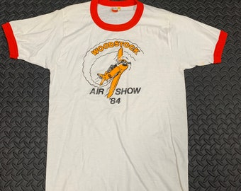 Vintage 80s Woodstock Ontario Airshow 84 graphic ringer T-shirt