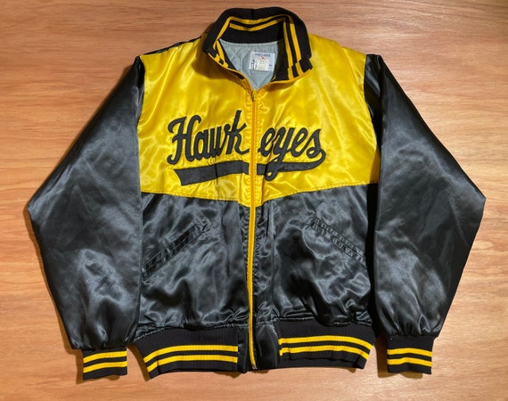 Vintage 1980s Iowa Hawkeyes Satin Bomber Jacket