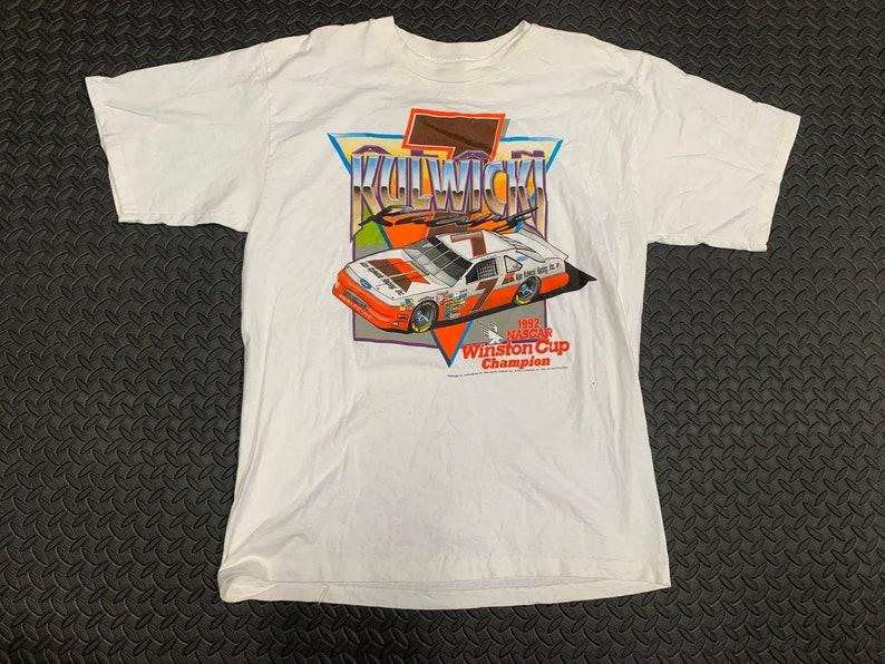 Vintage 90s Alan Kulwiki 1992 Winston Cup Champion Racing Double Sided NASCAR T-Shirt