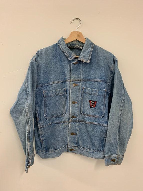 Vintage 90s Wisconsin Badgers Stitched Denim Jacke