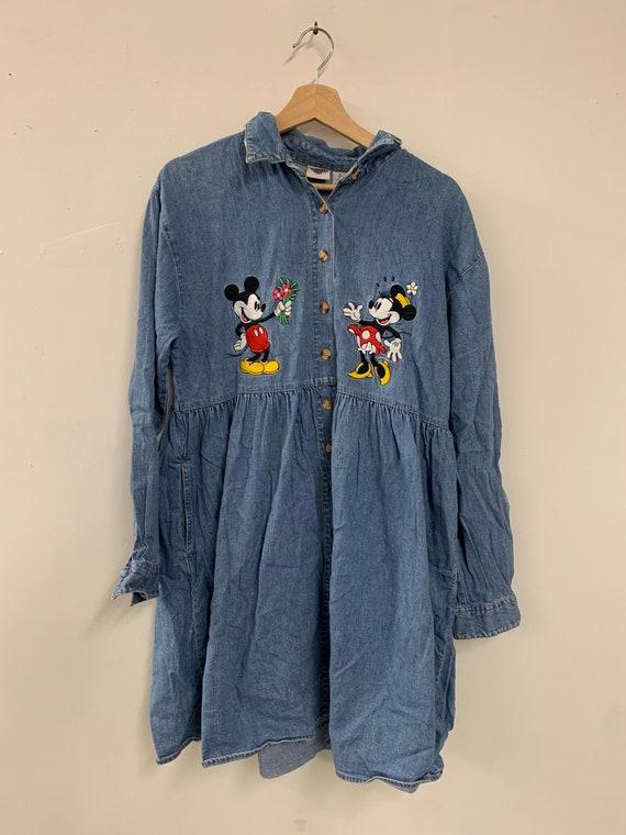 90s vintage medium dark wash denim jumper dress