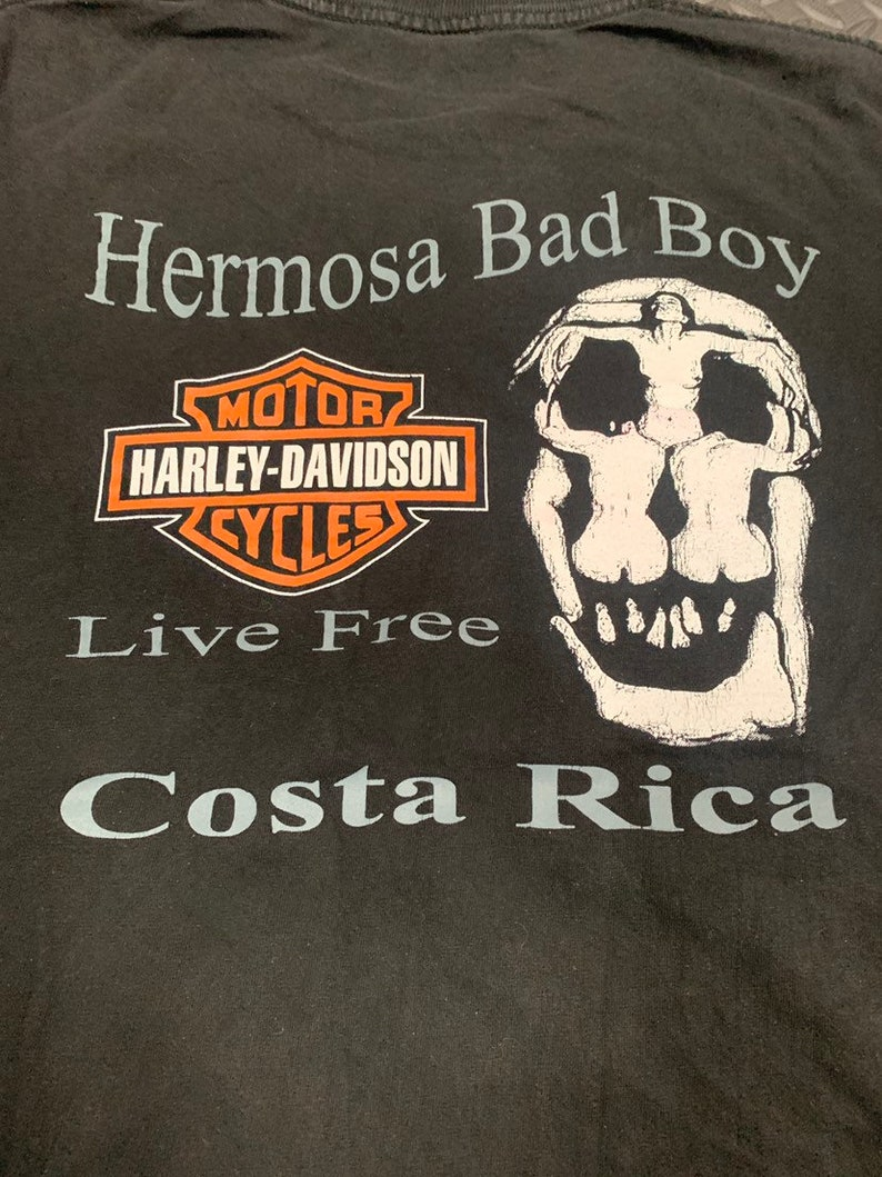 Vintage 90s Harley Davidson Motorcycles Live Free Costa Rica Grahpic T-shirt