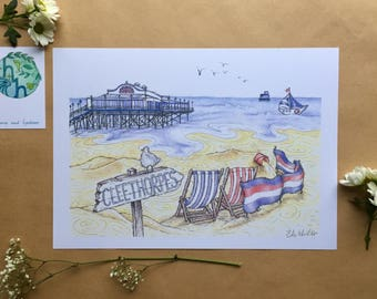 Day at the Beach - Hand Drawn A4 Art Print, Seaside wall art, beach illustration, nautical theme