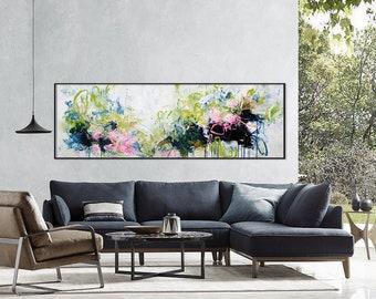 Charmant Floral Painting Print Large Floral Print Extra Large Wall Art Canvas Large  Abstract Art Print Black Pink Print Horizontal Print 242