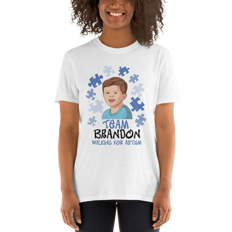 bfa4539a4 Custom Autism Walk T-Shirt Design Personalized Caricature | Etsy