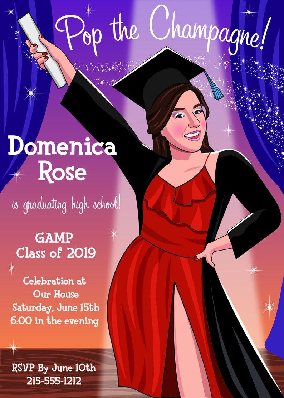 caricature graduation invitation graduation invite with stars Broadway star graduation invitation unique custom graduation invitation