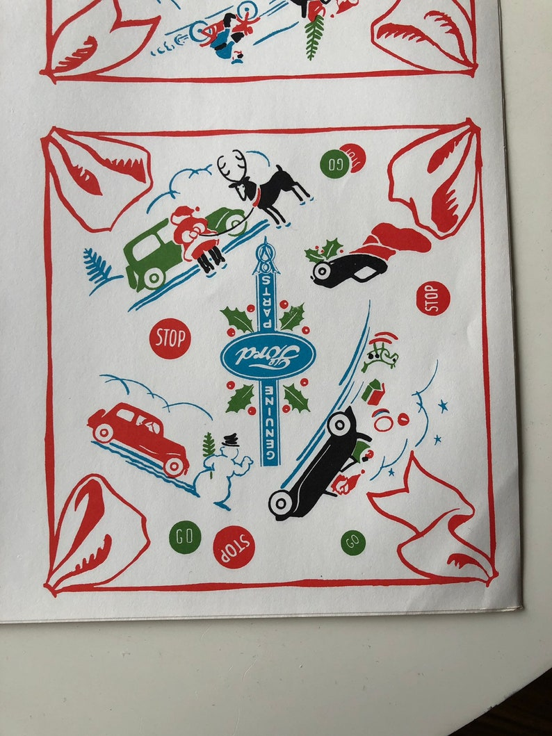 Spectacular 1930s Ford V8 Christmas Wrapping Paper \u2013 Reproduction