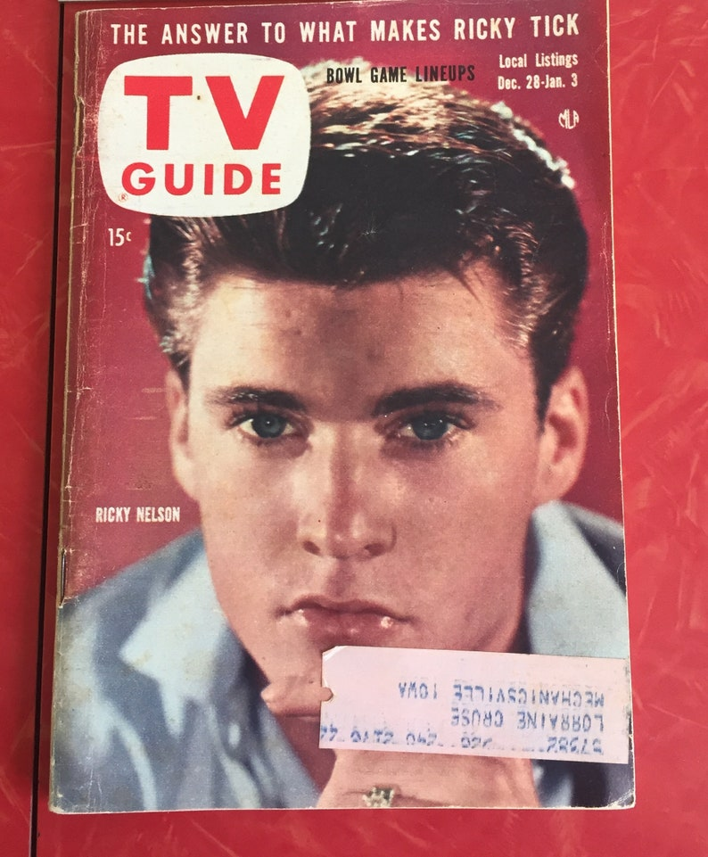 1957 Ozzie, Harriet, David and Ricky (Rick) Nelson TV Guide December 28  1957 - January 3 1958