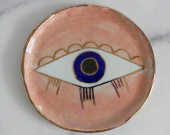 Handmade,Hand painted Evil eye plate , plate , jewelry plate , decoration plates.with24k gold luster