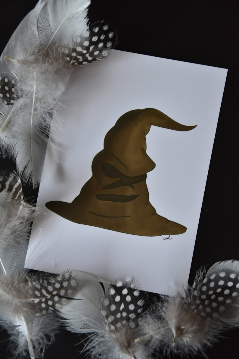 Harry Potter Sorting Hat Print  A6 image 0
