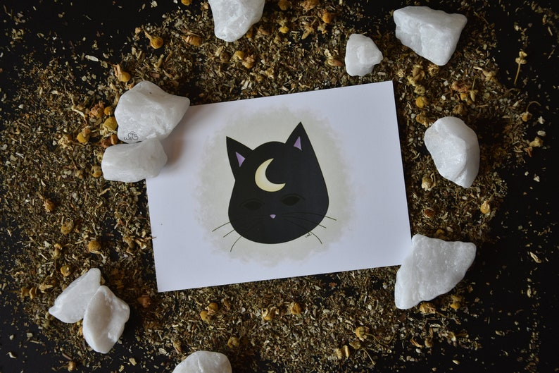 Halloween Cat Print  A6 Card  image 0