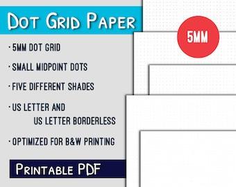 Dot Grid Printable--5mm US Letter Dot Grid Paper Printable, Grayscale, PDF
