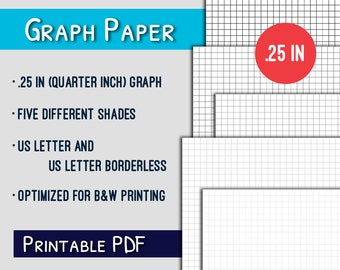 Graph Paper Printable--.25in Quarter Inch Letter Graph Paper Printable, Grayscale, PDF