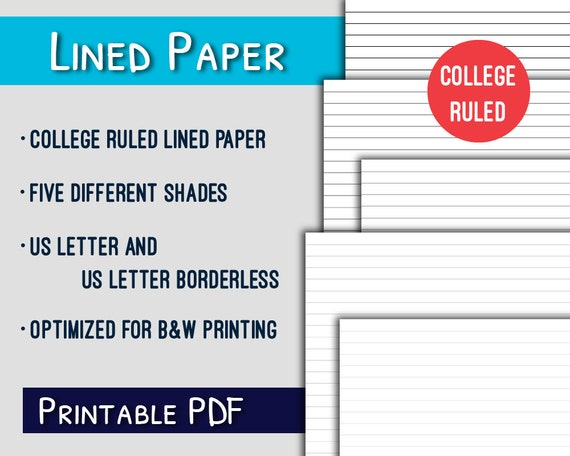Lined Paper Printable College Ruled Letter Lined Paper Printable Grayscale Pdf