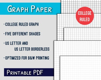 Graph Paper Printable--College Ruled Letter Graph Paper Printable, Grayscale, PDF