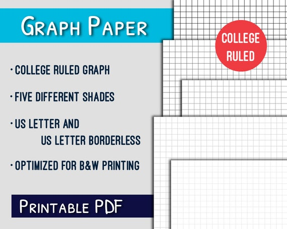 graph paper printablecollege ruled letter graph paper etsy