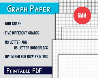 Graph Paper Printable--5mm US Letter Graph Paper Printable, Grayscale, PDF