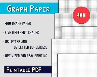 Graph Paper Printable--4mm US Letter Graph Paper Printable, Grayscale, PDF