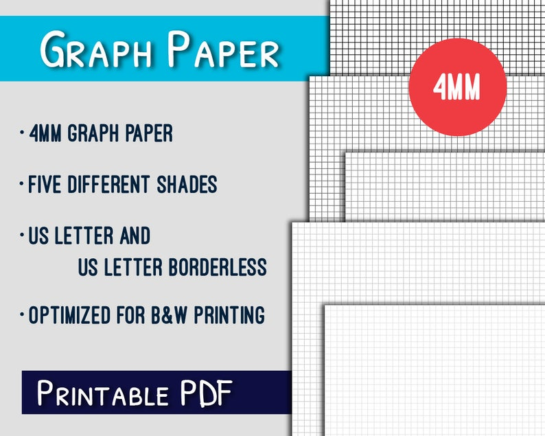 image relating to Printable Loose Leaf Paper called Graph Paper Printable--4mm US Letter Graph Paper Printable, Grayscale, PDF