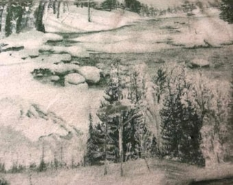 Green flannel mountain fabric